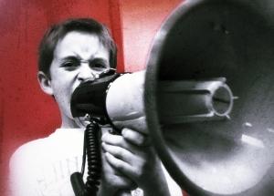 Child holding megaphone
